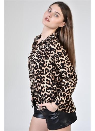 Rodi Jeans Kadın Tek Cepli Desenli Gömlek DS21YB033918 Leopar